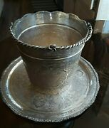 Pershian Art Exhibition X- Large Solid Silver Ice Or Wine Bucket And Under Tray