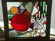 Stop View Assemblage Up Used Recycled Steampunk Stained Glass Window Framed