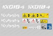 Kubota Kx018-4 Mini Digger Complete Decal Set With Safety Warning Signs