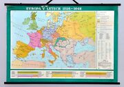 Vintage Map Europe In 1526 - 1648. Antique Rare Retro School Wall Map Home Decor