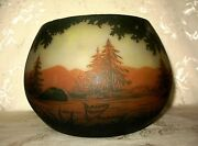 Huge 1890and039s Signed Nancy Daum Cameo Glass Bowl Done In A Forest By Water Design