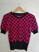 French Connection Polka Dot Fucsia And Black Top Size M