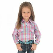 Wrangler Gw2949m Girland039s Long Sleeve Purple And Turquoise Plaid Western Snap Shirt