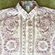 Gianni Versace Lavender Silk Shirt Barocco Print Size It 52 From 1995