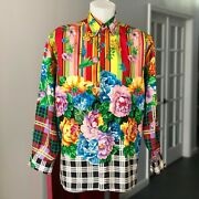 Gianni Versace Versus Silk Shirt Floral Print Size 46 From 1993 Miami Collection