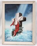 Clarence Thorpe Original 18x24 Religious Painting Rock Of Ages Cross Christian