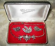 Sherman Jewels Of Elegance - Signed Clear Ice Necklace, Brooch And Earrings Set