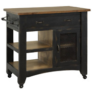 Crafters And Weavers Rustic Farmhouse Kitchen Island - Distressed Black - 39