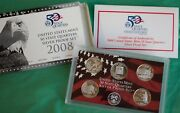 2008 S Proof State Quarter 90 Silver 5 Coin Statehood 25c Set With Box And Coa