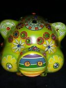 Vintage Pottery Pig Piggy Bank Folk Art With Hand Painted Decoration
