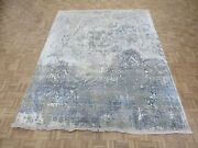 8and0391 X 10and0393 Hand Knotted Gray Brown Modern Abstract Oriental Rug With Silk G5979