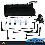 Valve Cover Set And Ngk Spark Plug And Wire Denso Ignition Coil For Hyundai Kia 2.0l