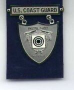 Us Coast Guard Pistol Shooting Badge In Silver National