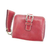 Wallet Purse Bifold Red Silver Woman Authentic Used C1895