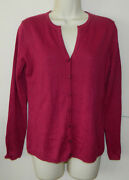 New Women Talbots Solid Dark Pink Cardigan Sweaters Long Sleeve Casual Work S