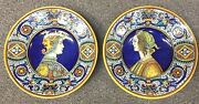 Finest Deruta Ceramics-dame And Knight-made/painted By Hand Italy