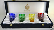 Faberge Salute Shot Glasses Signed In Faberge Box, Cased Cut Clear Crystal