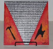 Faux 3d Studded Hammer And Anvil And Flames Flagstone Art Painting By Elissa Shakal