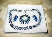 Sherman Jewels Of Elegance -signed Ab Crystal Blue Brooch, Necklace And Earrings