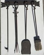 Antique Wrought Iron Fireplace Tool Set Wall Mount
