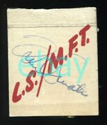 Frank Sinatra Autograph Signed Matchbook Cover 1949 Tobacco Bowl Lucky Strike