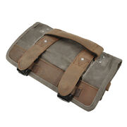 Burly Brand Voyager Tool Roll Brown Aged Distressed Waxed Cotton Canvas 8-pocket