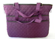 Thirty One Hostess Exclusive Double Utility Tote Bag Plum Quilted Diamond
