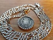 Ultra Rare 1862 Italy 50 Cent Pendant And 24 Italian Made Sterling Silver Chain