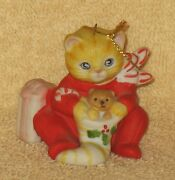 Rare Kitty Cucumber Cat In Red Pajamas And Stocking Ornament