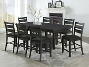 Dining Room Furniture 9pc Set Counter Height Dining Table Side Chairs Grey Color