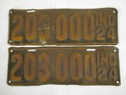 Pair 1924 Indiana 203,000  License Plate Tag