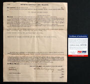 Charles Ringling Signed Autograph 1927 Barnum Bailey Circus Contract Psa/dna Coa
