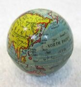 Vintage Metal World Globe Pencil Sharpener Tin Litho Colorful And Clean T17