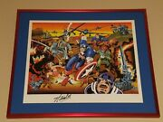 Captain America Print Signed Jack Kirby And Stan Lee Auto Ap 23/95 Avengers 50th