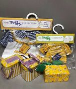 Muffy Vanderbear Sewing Lesson, Muffy And Fluffy Outfits Thimbles 2 Tin Boxes New