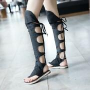 Fashion Womens Flat Heel Flip Flops Slingback Lace-up Hollow Over The Knee Boots