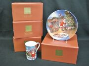 New Set Of 16 Pc. Lenox Santaand039s Journey Mugs And Party Plates In Boxes Mint
