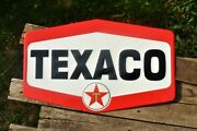 Texaco Hexagon Embossed Tin Metal Sign - Gasoline And Motor Oil - Star Gas Station