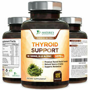 Thyroid Support Supplement 1070mg With Iodine Vitamin B12 Metabolism Energy