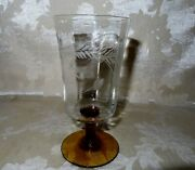 Antique Set Of 12 Hand Blown Wheel Etched Glasses With An Amber Stem
