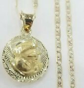 14k Yellow Gold First Communion Double Sided Pendant Charm 20and039 Valentino Chain