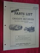 Vintage Woods Obsolete Belt Driven Pull And Rear Mounted Rotary Mowers Parts List