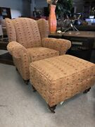 Kincaid Upholstery Kiawah Wing Back Arm Chair W/ Casters With Ottoman 824-00