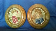 Antique 19th Folk Art Needlepoint Young Girl And Boy Framed Wall Hanging