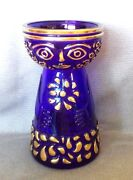 Rare Cobalt Blue Gold Art Glass Vase Face Stunning Piece See All Pictures
