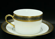 Faberge Grand Palais Limoges Coffee Tea Cup And Saucer China 24k Gold Trim