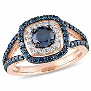 Amour 10k Rose Gold Blue And White Diamond Double Halo Engagement Ring