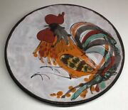 Rare Plate Signed The Brescon Decor Rooster Vallauris Vintage D 9 13/16in N16