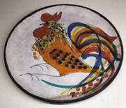 Rare Plate Signed The Brescon Decor Rooster Vallauris Vintage D 9 13/16in N15