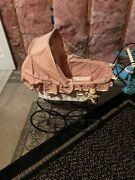 Wicker Doll Carriage White Black Wheels Fully Lined